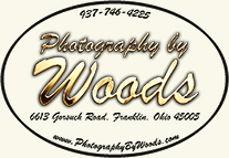 Photography by Woods logo that includes address, web address and phone number
